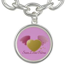 Gold Heart & Pink Angel Wings Silver Charm Bracelet - #customizable by #MoonDreamsMusic #CharmBracelet #ValentinesDay #ValentineSweetheart #AngelWings #GoldHeart