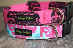 "Damask Dog Collar ""The Damasks"" You Pick- Pink and Black or Turquoise and Pink Dog Collar"