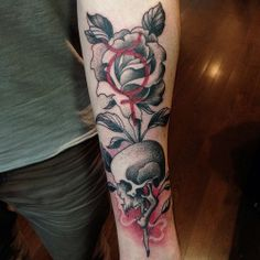 Skull and Flower Tattoos | Black & Red Tattoos | Forearm Tattoos