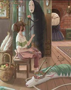 Studio Ghibli Art, Studio Ghibli Movies, Totoro, Manga, Chihiro Y Haku, Sans Art, Spirited Away, Hayao Miyazaki, Anime Scenery