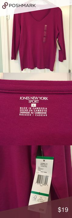 Jones of New York cranberry shirt NWT knit long sleeve cranberry v-neck shirt. Jones of New York sport very soft. Original owner bought but never fit. Jones New York Tops Tees - Long Sleeve