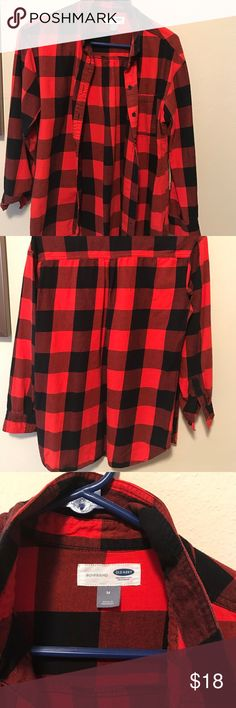 "Red and Black ""Boyfriend"" Flannel Size Medium ""Boyfriend"" Flannel from Old Navy. Worn but excellent condition. No holes, tears or kissing buttons. Old Navy Tops Button Down Shirts"