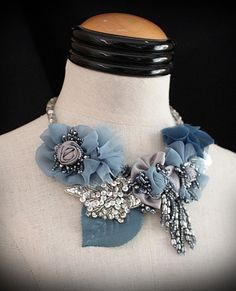 JEAN Blue Silver Mixed Media Statement Necklace by carlafoxdesign