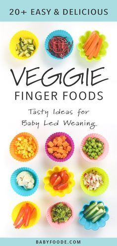 Over two dozen vegetables to serve to your baby or toddler. Whether you're just starting finger foods or exploring baby led weaning, you'll find the perfect vegetable for your little one, as well as tips and tricks for how to prepare, serve, and offer finger foods for baby! #fingerfoods #babyledweaning