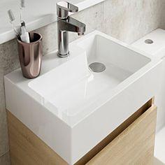 Wall Mounted Basins | Wall Mounted Sinks in UK - Order Online! Cloakroom Vanity Unit, Cloakroom Basin, Basin Vanity Unit, Basin Unit, Big Bathrooms, Modern Bathroom, Design Bathroom, Bathroom Interior, Small Basin