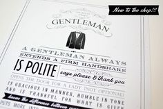 Ruff Draft:  The Rules of a Gentleman – Perfect Father's Day Gift
