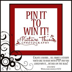 Last day today 4/10...Enter to win by creating a Pinterest board about a session you'd like to have with Picture This Photography!  Details on the blog!  PIN AWAY! Create A Board, Photography Contests, Enter To Win, Pinterest Board, Create Yourself, Day, Blog, Pictures, Photos