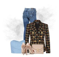 """Denim Shirt with Blazer 2!"" by flippintickledinc ❤ liked on Polyvore featuring True Religion, Julien David, Balmain, Chloé and Rupert Sanderson"