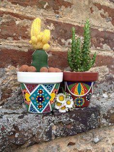 Petit pot pour cactus / plantes succulentes peint à la main : Accessoires de maison par 3-cactus-dans-1-bateau