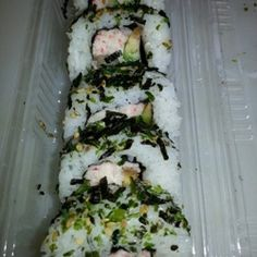 Furikake Norimaki Sushi A delicious sushi for those that don't like raw ingredients...this one is made with a delicious imitation and cooked crab salad.