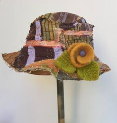 Handmade Patchwork Hat for Fall with Felted Flower Pin
