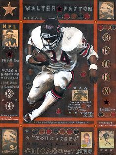 Walter Peyton, Chicago Bears by Ray Stephenson Bears Football, Nfl Chicago Bears, Football Art, Football Rules, Football Players, Sports Art, Sports Logo, Sports Posters, Sports Teams