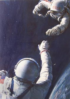 Astronaut and Cosmonaut reaching towards each other in space 1975 by John Berkey