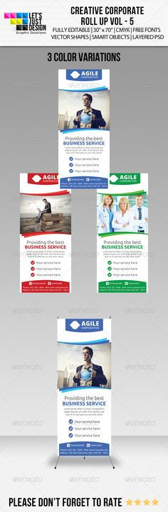 Buy Corporate Roll-up Banner Vol 5 by letsjustdesign on GraphicRiver. Corporate Roll-up Banner Vol 5 Features: 3 Layered PSD. All Vectors – Fully Editable Files x Inch bleed. Signage Design, Brochure Design, Banner Design, Banner Template, Flyer Template, Rollup Banner, Letterhead Template, Brochure Template, Corporate Signs
