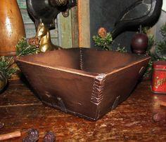 Primitive Antique Vtg Wood Style Treenware Square Angled Box Resin Repro Bowl #NaivePrimitive