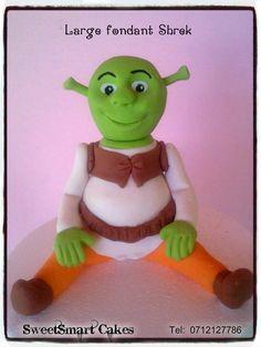 Fondant Shrek For info & orders email sweetartbfn@gmail.com R80, Edible Cake, Shrek, Sugar Art, Gum Paste, Cupcake Toppers, Cake Decorating, Dinosaur Stuffed Animal, Fondant Figures