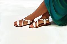 Women Sandals White Leather Sandal by NikolaSandals on Etsy, $48.00