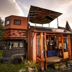 The Transforming Castle Truck -  a totally drivable vehicle that meets all road clearance requirements in New Zealand, where it was made; when parked truck unfolds into a spacious house of castle-like proportions.  #tinyhouseliving #tinyhome #tinyhousemovement   - Instagram photo by Tiny House News : Iconosquare