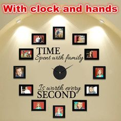 """DIY """"Time Spent With Family"""" Wall Clock With Photo Frame Acrylic&Vinyl Material"""