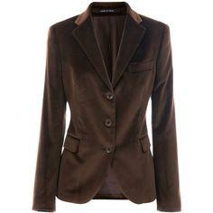 Tagliatore 0205 Mocca Velvet Blazer Francesca via Polyvore