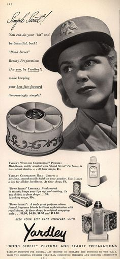 """You can do your """"bit"""" and be beautiful, both! Vintage Makeup Ads, Vintage Beauty, Vintage Ads, Vintage Dresses, Retro Advertising, Vintage Advertisements, Yardley Soap, Retro Housewife, Beauty Ad"""