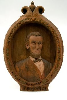 Circa 1946 Carved Wood Abe Lincoln Plaque Signed Otto '46 For Sale!