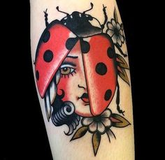 lady bird / lady bug tattoo // 30+ Beautifully Colourful Traditional Tattoos