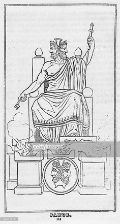 Janus, the god of beginnings and transitions in ancient Roman religion and myth. Cleopatra, Roman Fashion, Anglo Saxon, Wine Label, Greek Gods, Ancient Romans, Gods And Goddesses, Pyrography, Ancient History
