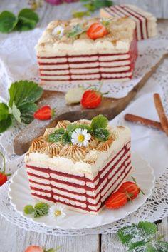 Truskawkowa Zebra Polish Desserts, Cold Desserts, Polish Recipes, Cookie Desserts, No Bake Desserts, Cookie Recipes, Mini Cakes, Cupcake Cakes, Sweets Cake