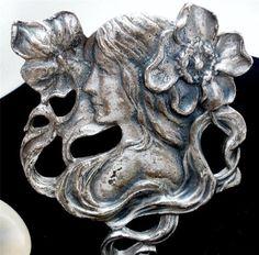 Art Nouveau Lady Floral Brooch Pin Estate Antique Jewelry Silver Woman   eBay