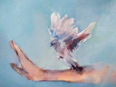 Helen van Stolk | Blue Bird Calling - available for sale | StateoftheART Sakura Painting, The Horse Whisperer, Bird Calls, Art Online, Blue Bird, Art Sketches, Buy Art, Oil On Canvas, Contemporary Art