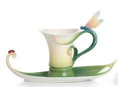 dragonfly teacup II Franz Porcelain Peace and Harmony cup and saucer II Ceramic Clay, Ceramic Pottery, Catherine La Grande, Coffee Cups, Tea Cups, Cuppa Tea, Teapots And Cups, Tea Service, Tea Cup Saucer