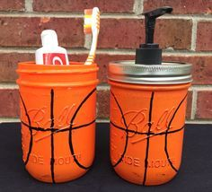 Hand Painted Basketball Soap Dispenser. Basketball Bathroom Set. Basketball Birthday Gift. Basketball Christmas Gift. Sports. Mason Jars