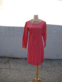 shiny 60s MOD bright pink DRESS by myrtledovelove on Etsy, $34.00