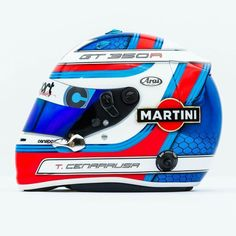 My new personal helmet.always loved MARTINI liveries so decided to do one for myself. It's a shame they won't be in anymore. Biker Helmets, Custom Motorcycle Helmets, Custom Helmets, Racing Helmets, Martini Racing, Karting, Porsche 904, Helmet Paint, Helmet Design