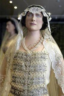 Detail close up of bodice of Queen Elizabeth, the Queen Mother's wedding dress
