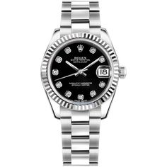 Rolex Datejust 31mm Stainless Steel 178274 Black Diamond Oyster Watch (€6.845) found on Polyvore featuring women's fashion, jewelry, watches, stainless steel, black dial watches, rolex, black face watches, stainless steel jewellery and black diamond watches