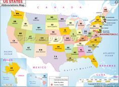 Us States Map And Abbreviations States Maps Showing All The 50 States With Their Abbreviations Along With Full Names