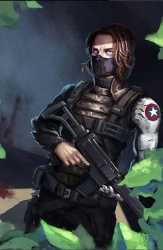 Is he the Winter Soldier with that muzzle or Steve's bff with the Captain America shield symbol? I'm getting mixed messages here