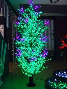 Δέντρο Led      1536 Led  Τροφοδοσία: 230V AC  Κατανάλωση: 71W  Χρώμα: Πράσινο-Μωβ  Χρώμα κορμού: Μαύρο  Διαστάσεις: Ύψος 2,20m, Διάμε... Led, Plants, Plant, Planets