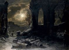 Ruins of a Gothic chapel at full moon, 1868  Felix Kreutzer (* 1835 - 7 Apr was a German landscape painter. Beauty in Art Moonlight Painting, Moon Painting, Great Paintings, Beautiful Paintings, Nocturne, Full Moon Night, Beauty In Art, Goth Art, Classical Art