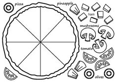 "Use it in the ESL classroom for a vocabulary unit on food or in the mainstream classroom for a fractions lesson. Get students to write a recipe for their pizza using fractions: ""my pizza has of mushrooms, of olives, etc. Or simply use for Pizza Coloring Page, Coloring Pages, Pizza Fractions, Pizza Craft, Make Your Own Pizza, 4th Grade Math, Math Classroom, Teaching Math, Preschool Activities"