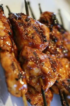 These EASY STICKY CHICKEN skewers are bursting with Asian flavor. The sauce gets thick and caramelized when grilled concentrating the incredible flavors even more. This is one of my favorite grilled chicken breast recipes. Chicken On A Stick, Sticky Chicken, Bbq Chicken, Healthy Chicken, Healthy Salad Recipes, Healthy Breakfast Recipes, Healthy Eating, Grilling Recipes, Cooking Recipes