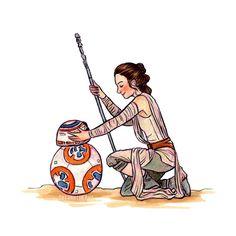 susanne draws: Inktober day 20. BB-8 and Rey.