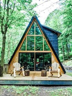 Unique Hand-Crafted A-Frame Cabin in Remsen Ideal for Glamping in New York Cabin House Plans, Tiny House Cabin, Cabin Homes, A Frame Cabin, A Frame House, Chalet Design, Luxury Cabin, Unusual Homes, Cabin Rentals