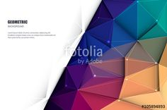 Vektor: Vector illustration white paper (blank space for your content) on Abstract 3D Geometric, Polygonal, Triangle pattern shape and multicolored,blue, purple, yellow and green background