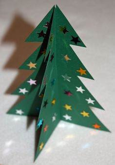 Craft and Other Activities for the Elderly: Make a 3D Card Christmas Tree - with Printable Template!