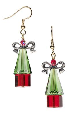 Christmas Tree Earrings with SWAROVSKI ELEMENTS, Celestial Crystal® Beads and Antiqued Pewter Beads