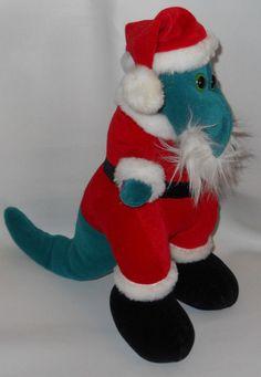 "Dinosaur Christmas Santa Claus Plush Stuffed Toy Etone 12"" Korea 1986 Vintage #Etone"