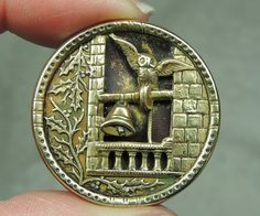 Antique Brass Picture Button Owl in The Belfry Metal | eBay, $24.99
